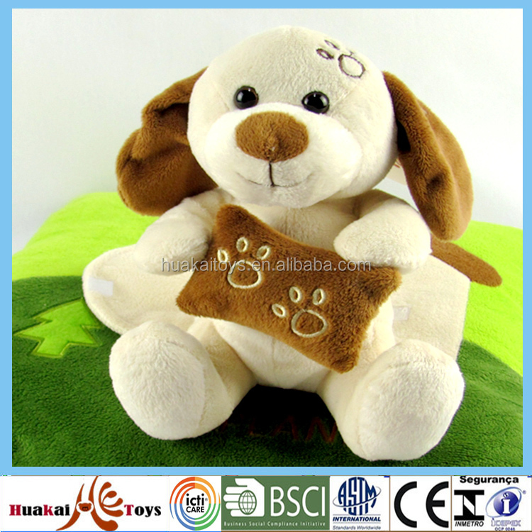 "8"" good look handmade stuffed dog toy with embroidery"