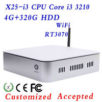 Factory price! mini server mini itx case usb computer mini pc linux X25-I3 3210 4G RAM 320G HDD Support Touchscreen