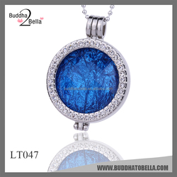 Buddhatobella 2015 Fashion jewelry Locket coins 32mm crystal ryhodium plating coins new shine design coins pendant LT047