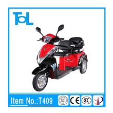 safety brake system good quality 2 seat 3 wheel motor scooter handicapped electric tricycle with passenger seat