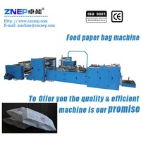 ZNS-350 Factory direct KFC bread sandwich food paper bag making machine with flat bottom