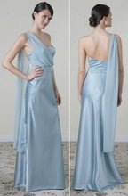 Ice Blue satin modified A-line bridesmaid gown