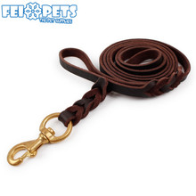 High Quality Pet Leather Leashes Flat Long Dog Training Leash