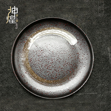 7&quot; circle <strong>plate</strong> japanese restaurant tableware handpainted stoneware flat pan <strong>plate</strong> hotelware black korean