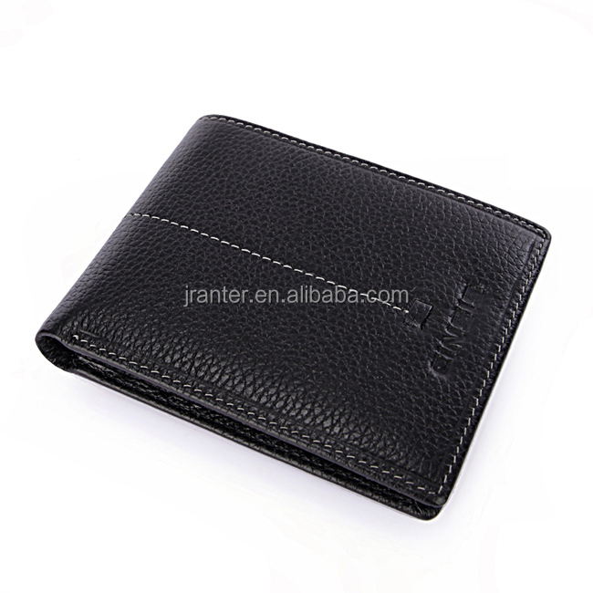 Black Cowhide Genuine Leather Bifold Men Wallet Brand