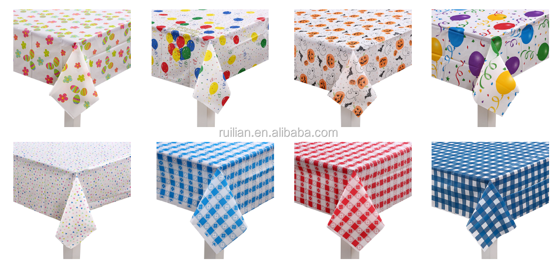 12 Pack Premium Round Plastic Checkered BBQ Tablecloth Gingham Checkerboard Disposable Plastic Tablecloth 84 inch Round