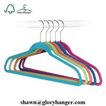 Nonslip Velvet Flocked Coat Clothes Hangers With Bar