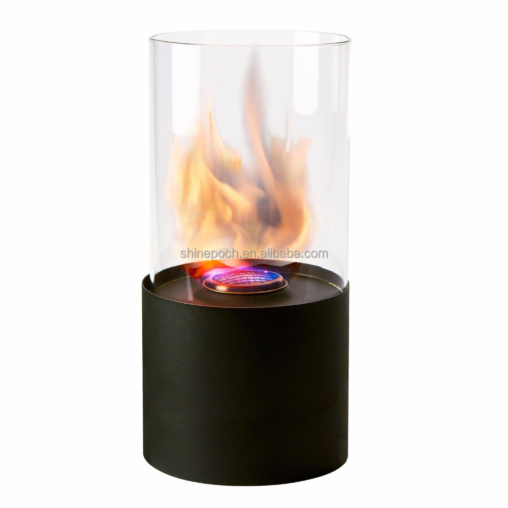 Modern Glass Round Table Bio Ethanol Fireplace