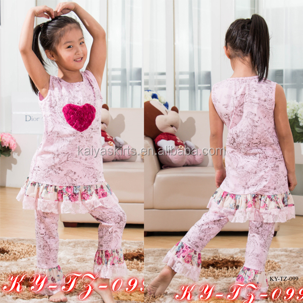 Kaiya dust pink with heart in front with beautiful print ruffle Vanlentine's day girls boutique clothing