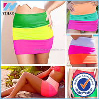 Trade Assurance Yihao 2015 Latest Hot Women's Candy Color Sexy High Waist Short Wrap Mini Stitching Skirt