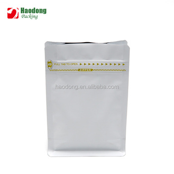 Resealable Aluminum Foil Flat Bottom Stand Up Ziplock Coffee Packaging Bag