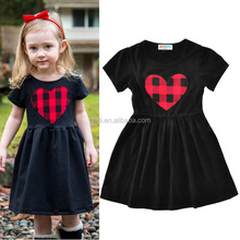 Children Costumes Girls Princess Dress with Short Sleeve Casual Red Heart Black Poppy Dresses