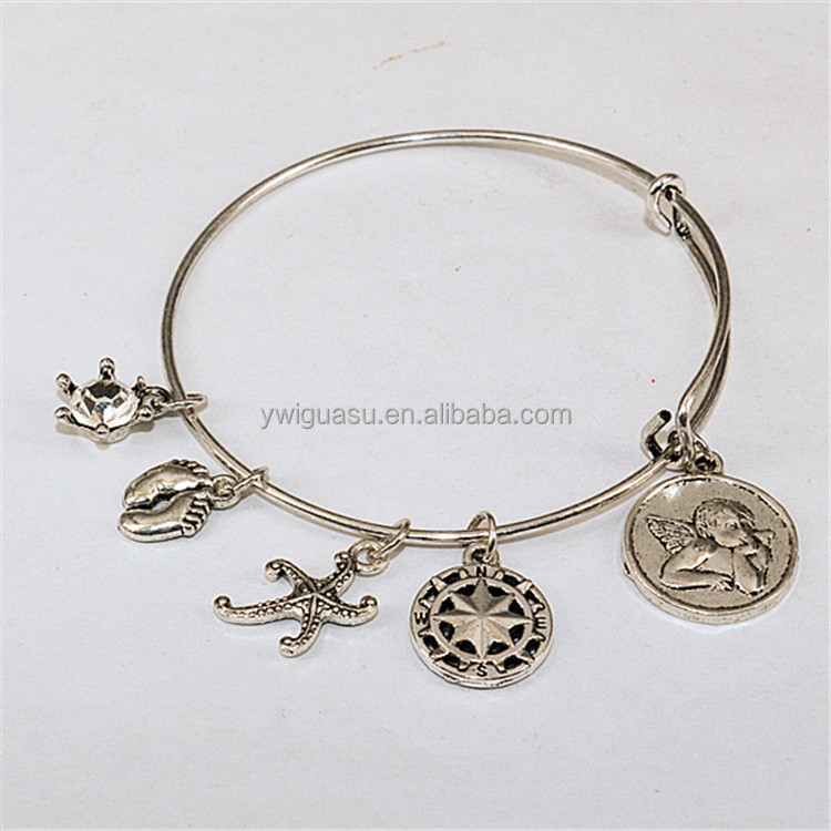 Crystal crown starfish pendant adjustable wire bangle bracelet wholesale 925 sterling pure silver bangle