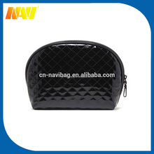 Black quilted women travel PU toiletry cosmetic bag