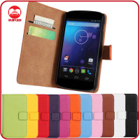 China Factory Wholesale Folio Pouch Pocket Stand Wallet Flip Leather Case Cover for LG Nexus 4 E960