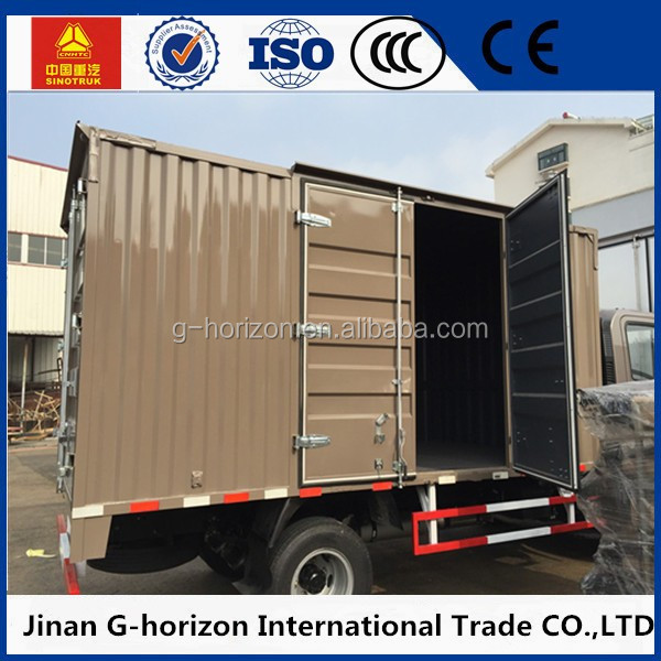 China Howo Light Corrugated Van Truck for sale