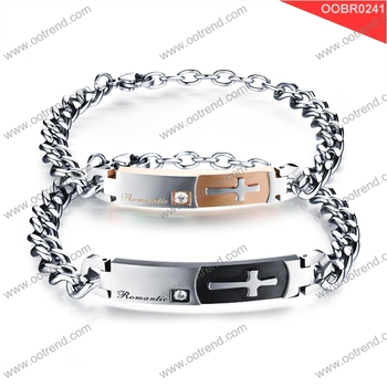 Good quality 2017 new style Couple Stainless steel cross bracelet