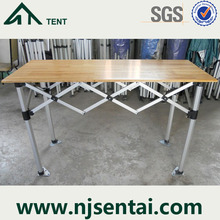 Outdoor 1.5m Aluminum Frame Wood Top Folding Table For Tents