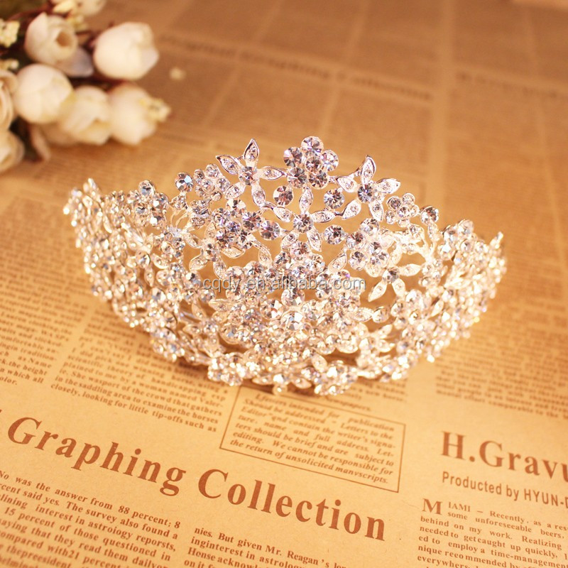 Gorgeous Sparkling Silver Big Wedding Diamante Pageant Tiara Hairband Crystal Bridal Crown For Bride Hair Jewelry Headpiece