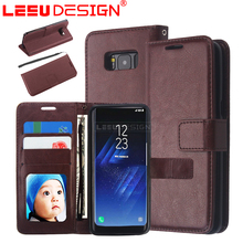 Crazy horse leather <strong>case</strong> with 3 slots photo frame with stand pu eather wallet phone <strong>case</strong> for samsun g galaxy s8