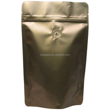 Stand Up Aluminum Foil Zipper Printed Coffee Packaging Bags With Valve Bottom Gusset gold coffee pouch bag with ziplock