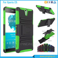3 in 1 heavy duty pc silicone shockproof armor case for Sony xperia c5 stand cover