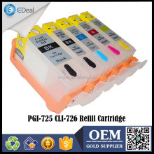 Inkjet printer ink tank for Canon PGI-725 CLI-726 refillable ink cartridge with reset chip