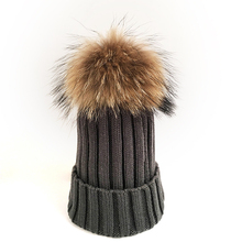 Myfur Dark Gray Wool Knitting Hat Couple Cap with Raccoon Fur Pompom