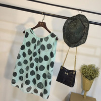 Latest dot pattern sleeveless top models chiffon blouse