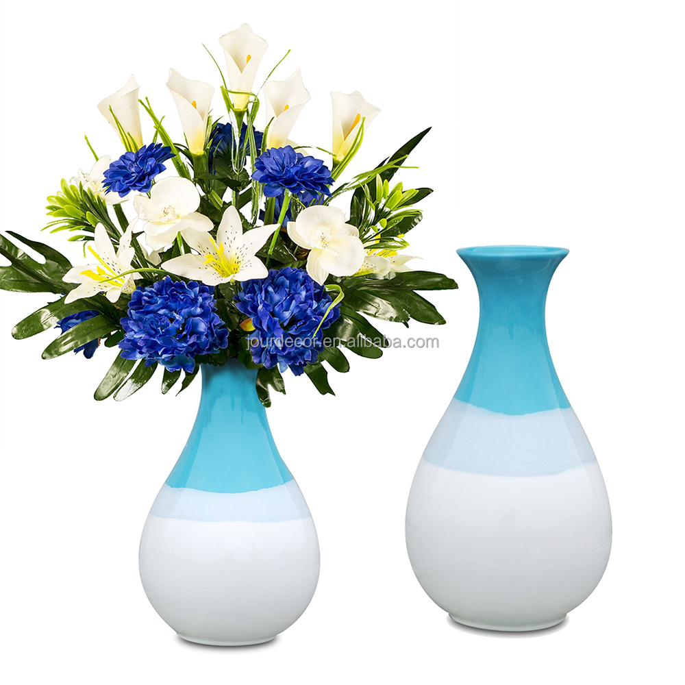 Modern Simple Sky Blue Mediterranean Ceramic Vase for Home Decor