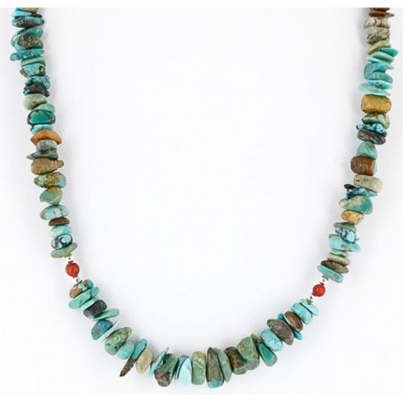 Authentic Native American, Navajo Natural REAL Turquoise Necklace-Chain
