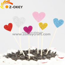 Golden any color customized heart shape Glitter paper cake topper
