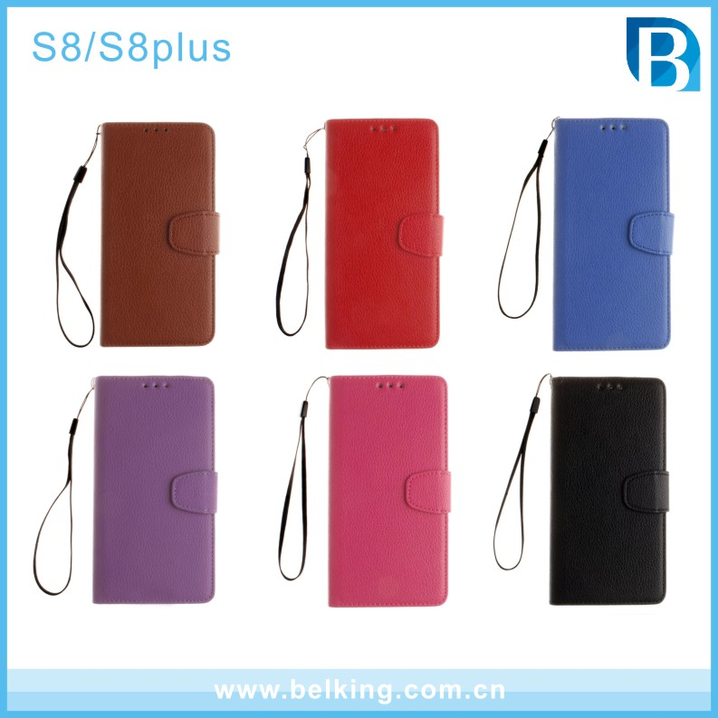 New Product Wallet Flip PU Leather Mobile Phone Case For Samsung Galaxy S8 S8plus Accessories