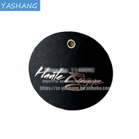 White printing black round thick paper with gold foil logo paper garment hang tags