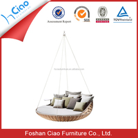 Leisure style furniture rattan round swing bed outdoor bed for sale