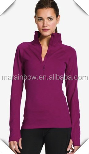 Lightweight 4-way stretch superior stretch sporty jacket OEM Ladies Golf Jumper with thumb hole