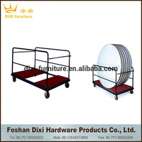 factory heavy duty foldable steel banquet round table trolley for hotel and restaurant/glass rack dolly for sale