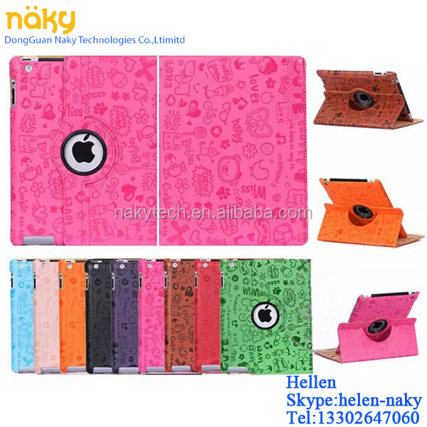 accessories PU Stand design for ipad 2 3 4 case with logo hole faerie design