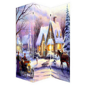illuminate Led room divider oil painting for christmas winter picture canvas printing light up for decorative art work wholesale