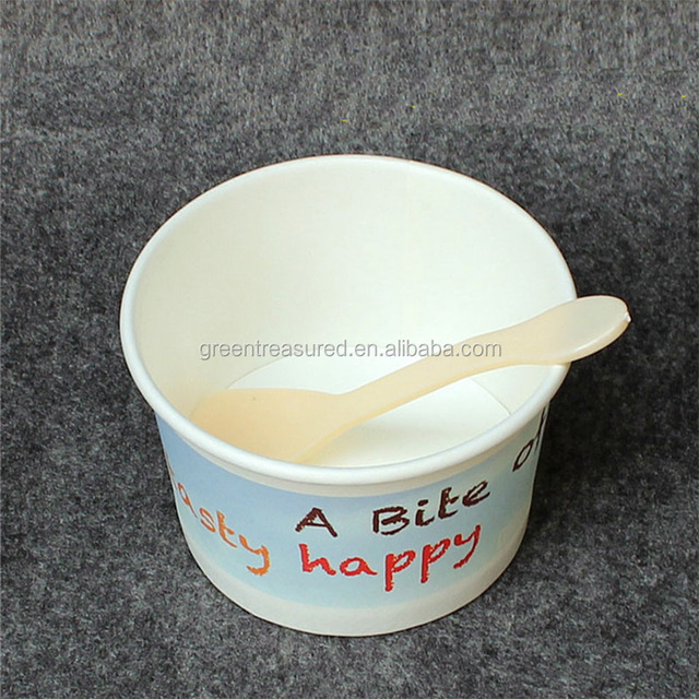 Custom Logo Printing Disposable Big Biodegradable Ice Cream Cups With lids