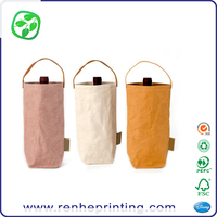 paper fabric washable wine bag with leather handle, Eco texture washable paper fabric wine packing bag