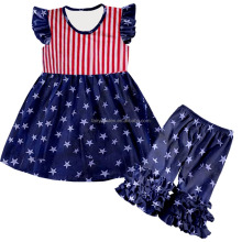 National Day children clothes set boutique baby girls summer flag pattern outfits with headbands kids clothing wholesale