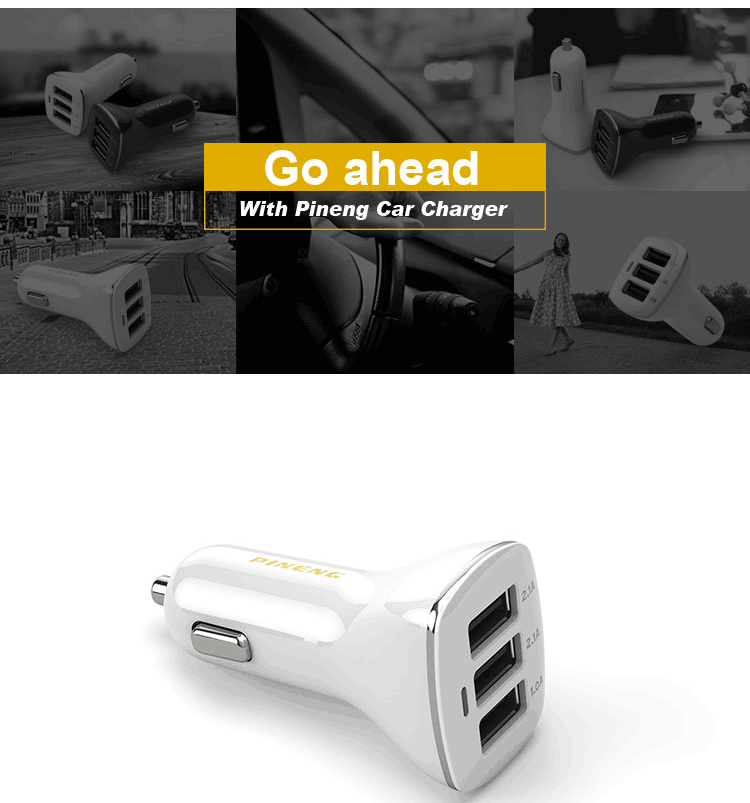 Newest portable 3 ports micro usb qi cell phone power bank mini Car Charger