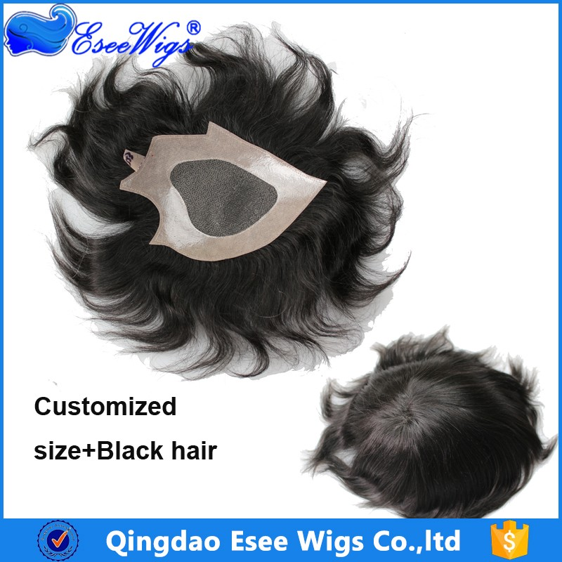 Eseewigs Indian Remy Real Human Hair Cheap Monofilament Lace PU Toupee Wig for Men