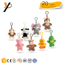 Stuffed promotional animal custom keychain toy cheap mini plush keychain