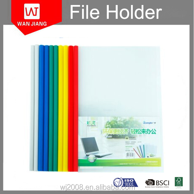 wholesale price export stationery PP a4 clear plastic pulling bar file folder with BSCI certificate