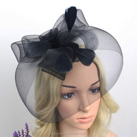 Hot Sale Fashion Womens Big Net Hats Fascinators With Feather