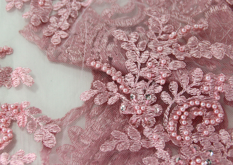 Beaded French Lace Beading Lace Fabric Embroidery Flower