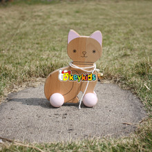 2016 wholesale kids wooden cat toy car, funny baby wooden cat toy car, high quality children wooden cat toy car W05B140