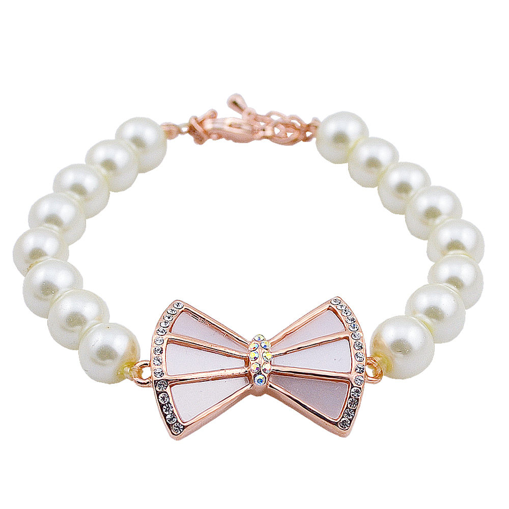 W239 Acrylic Pearl Bowknot Bead Bracelet Women 18K Gold Plated Jewelry Bracelet Wholesale 2017 New Designs Mother's Day Gift